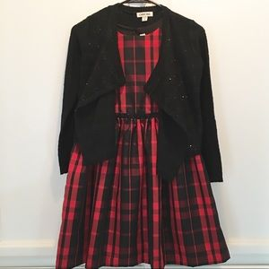 Girls Plaid Dress & Sweater Set